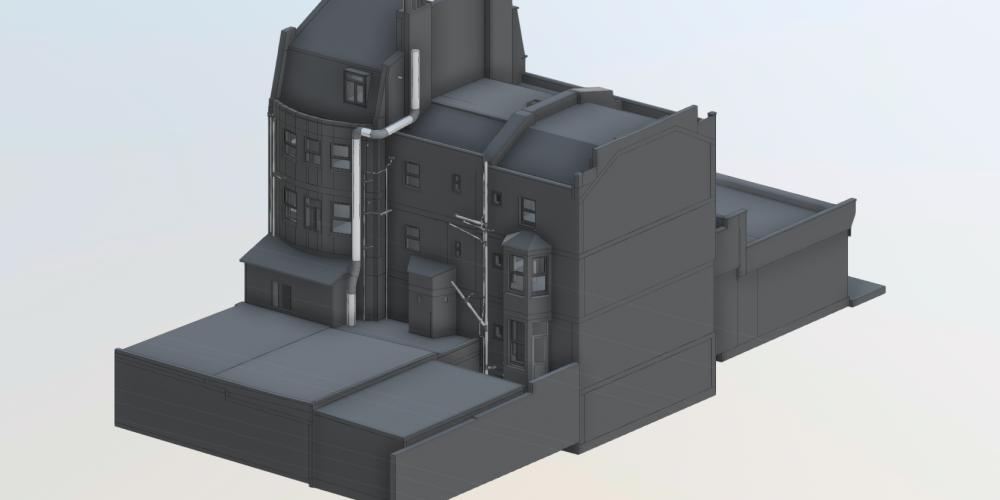 Complete 3D BIM Model in greyscale